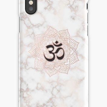 'Om symbol - Yoga Lotus Flower - Rose Gold and Marble' iPhone Case by Quaintrelle