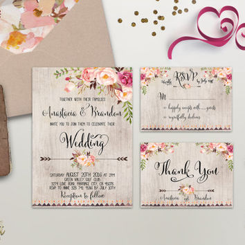 Floral Wedding Invitation Printable Wedding Invitation Suite Rustic Wedding Invite Boho Wedding Invite Peonies Wedding Invite Digital File