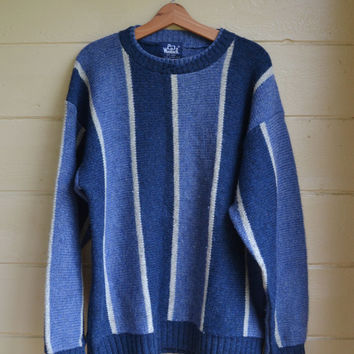 Vintage 80s Pullover Sweater Wool Sweater Striped Blue and White Oversized Sweater by Woolrich Men's Size XL X Large