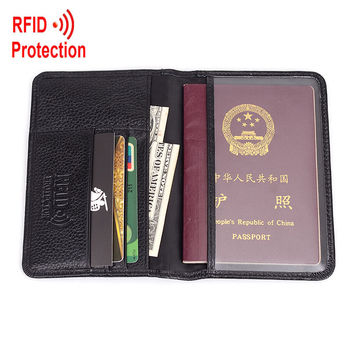 Passport wallet RFID BLOCKING  top grain genuine cow Leather  leather passport cover+ RFID protection mens wallet MRF6