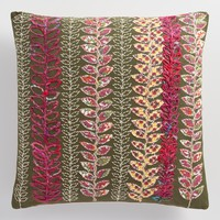 Olive Embroidered Vine Throw Pillow
