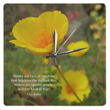 Sisters Are Special Poem Yellow Poppy Wallclock