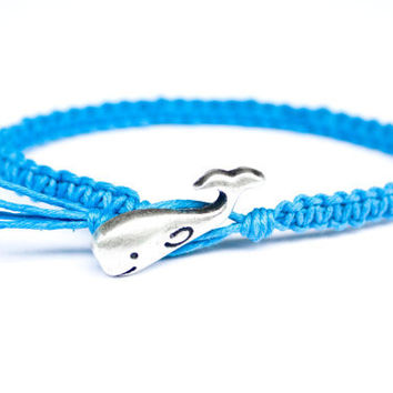 Whale Bracelet Blue Hemp Friendship