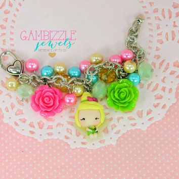 Tinkerbell charm bracelet, Tinkerbell jewelry, Peter Pan jewelry