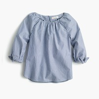 Girls' tie-sleeve top in stripe : Girl novelty shirts | J.Crew