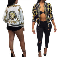 Versace Fashion Long Sleeve Zipper floral print jacket worn by women in the fall coat G