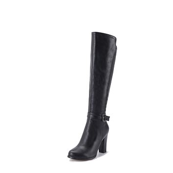 Faux Leather Tall Boots Winter High Heels Shoes for Woman 3150