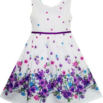 Girls Dress Elegant Princess Blooming Flower in Wind 2018 Summer Wedding Party Dresses Girl Clothes Size 4-12 Pageant Sundress