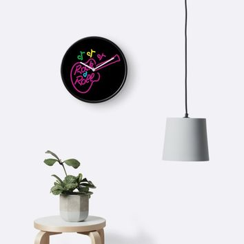'Rock and Roll Neon' Clock by Susan Evans