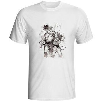 [EATGE] Hand Drawn Watercolor T Shirt Son Goku Kuririn Friendship T-shirt Dragon Ball Z Tshirt Cool Printed Unisex Tee