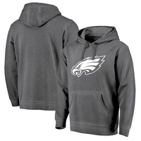 Best Deal Online Men's Philadelphia Eagles NFL Pro Line by Fanatics Branded Black White Logo Shadow Washed Pullover Hoodie