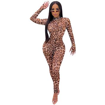 Women Sexy Leopard Print Mesh Long Sleeve Bodycon Jumpsuit