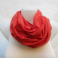 infinity scarf  Neckwarmer Necklace scarf Fabric scarf   White Red  Polka Dot