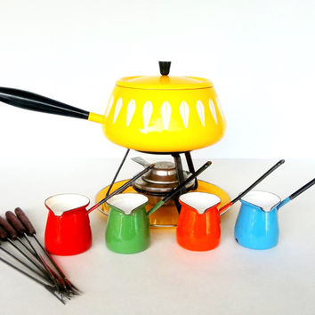 Cathrineholm Norway  Yellow Lotus Fondue Pot with Accessories - 14 pieces - Mid Century Modern Scandinavian Design