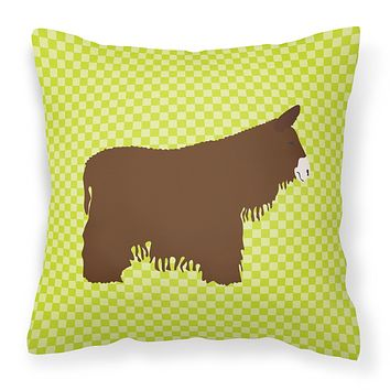 Poitou Poiteuin Donkey Green Fabric Decorative Pillow BB7678PW1414