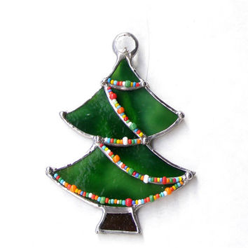 Stained Glass Christmas Tree Ornament with Green with Colored Bead Decorations and Jewel Topper