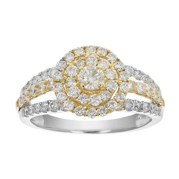 0.10 Carats 1.25 cttw Diamond Wedding Engagement Ring Set 14K Two Tone Gold