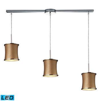 Elk Lighting 20030/3L-LED Fabrique Three Light LED Linear Drum Pendants In Polished Chrome And Bronze Weave Shade