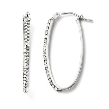 2 x 28mm Oval Hoop Earrings in 14k White Gold with Swarovski Crystals