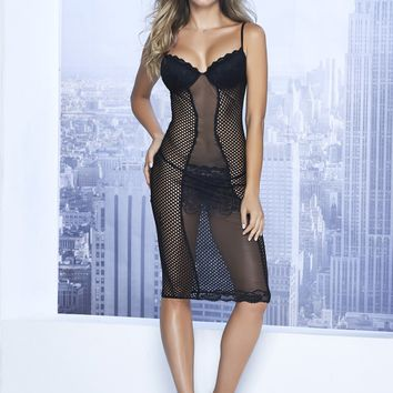 Seductive Lace & Fishnet Chemise