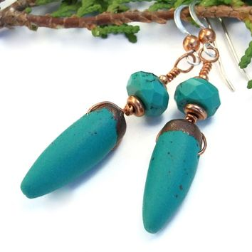 Spike Earrings, Turquoise and Copper Polymer Clay Gemstone Handmade Dangle Jewelry