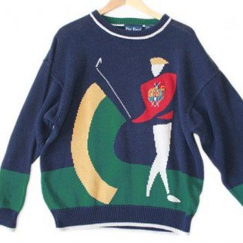 Shop Now! Ugly Sweaters: Abstract Golfer Tacky Ugly Golf Sweater Men's Size XL $8 - The Ugly Sweater Shop