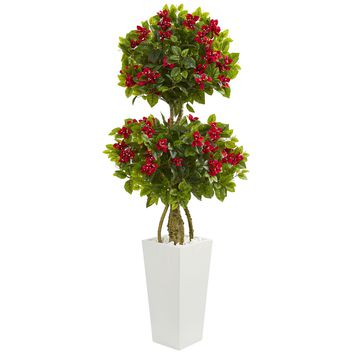 5' Double Bougainvillea Artificial Tree in White Tower Planter