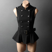 Military 40s Steampunk Captain Nautical Belt Ruffle Peplum Vest Top Shirt sz SML