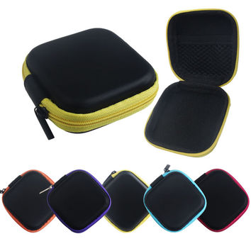 5 Colors Artificial leather Zipper Protective Headphone case Pouch Earphone Storage bag Headset Earbuds box Usb cable organizer