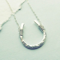 Lucky Horseshoe Necklace  Fine Silver  Good by WithLoveHeather