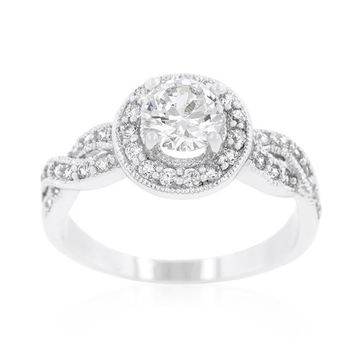 Round White CZ Halo Twist Rhodium Fashion Ring