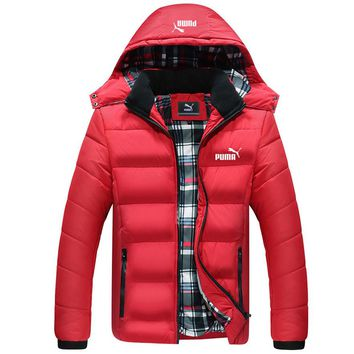 PUMA winter new trend men's thick padded down jacket red