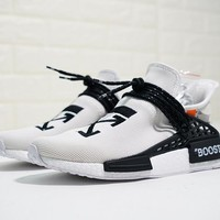 "OFF-WHITE x Pharrell x adidas NMD Hu Race Trail ""OW White"" Running Shoes BB7725"
