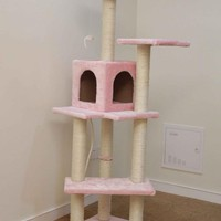 "New Pink 60"" Cat Tree Condo Furniture Scratch Post Pet House P"