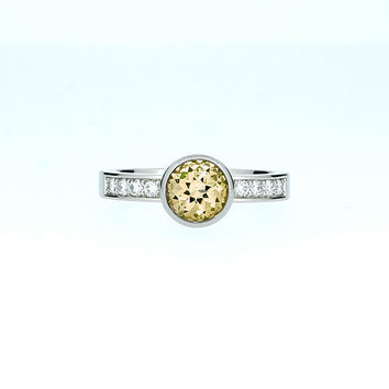 Citrine solitaire engagement ring, white gold ring, diamond engagement, citrine ring, bezel, white gold ring, unique, yellow gem, custom