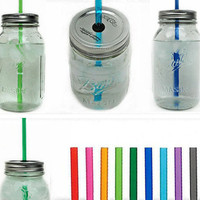 "Ten Mason Jar To-Go Tumbler Lids - Reusable Canning Jar Tops and Straws - You Pick Colors - 10.5"" Straw"