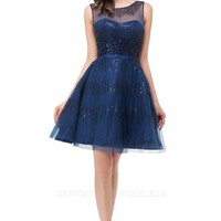 FATIMA | A-Line Sleeveless Crew Tulle Appliques Short Prom Dresses
