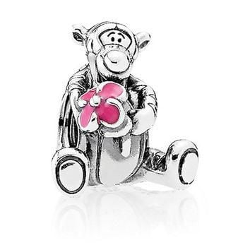 Disney Parks Tigger Figural Sterling Silver Charm Pandora New