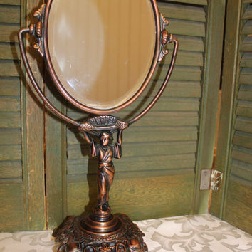 Golden Manufacturing Chicago - Vanity Mirror - Geisha Girl Base- Bronze Antique