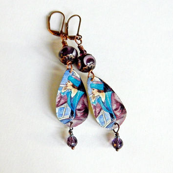 Bohemian lampwork earrings, Tin earrings, Rustic, Purple dangles, Boho jewelry, Gypsy, Hippie, Lampwork jewelry, Boho Chic, Handmade dangles