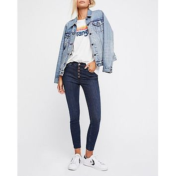 free people - reagan button front jeans - blue