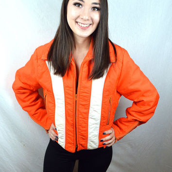 Vintage Neon Orange Ski Winter Slopes Snow Jacket Coat - SKYR