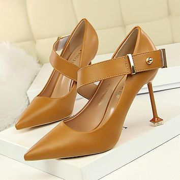 Pointed Toe Kitten Stiletto Heel PU High Heels Party Shoes