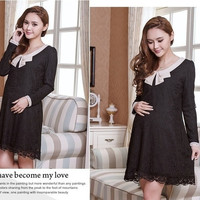 New Korean style fashion 2 colors maternity  dress casual loose big yards doll neck lace dresses M-XXXL = 1946748740