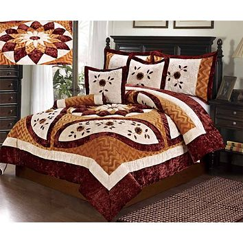 Tache 4-6 Piece Floral Autumn's Last Blossom Fancy Patchwork Comforter Set