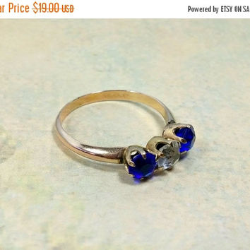 Vintage Rose Gold Ring Size 9 Cobalt Blue Glass and Clear Faceted Rhinestones Gold Filled Durable Fashion Ring Three Stars Mark in Shank