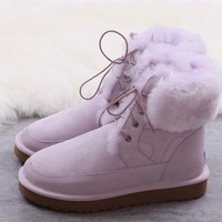 Ugg winter women's lacing boots purple shoes