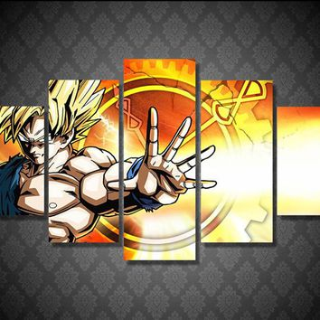 5 Piece Canvas Art Printed Dragon Ball Z Home Decor Picture for Living Room