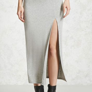 Heathered High-Slit Skirt