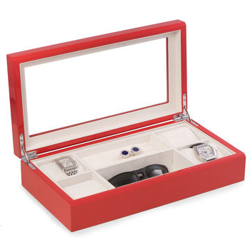 Lacquered Red Wood Valet / Jewelry Box with Glass Top